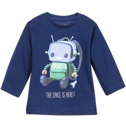 Mayoral - Boys Navy Blue Robot Print Top   Childrensalon