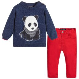 Mayoral - Boys Panda Sweater & Trousers | Childrensalon