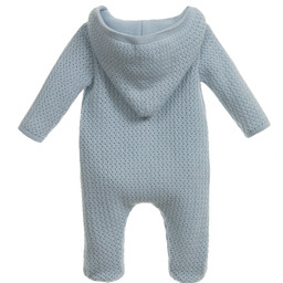Mebi - Blue Hooded Knitted Pramsuit | Childrensalon