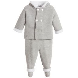 Mebi - Grey Knitted Babysuit Set | Childrensalon