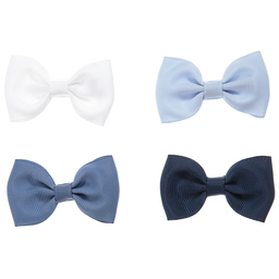 Milledeux - Girls Blue Bow Hairclips (Pack of 4) | Childrensalon