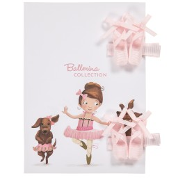 Milledeux - Girls Pink Ballet Shoes Hairclips (Pack of 2) | Childrensalon