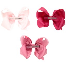 Milledeux - Girls Pink Bow Hairclips (Pack of 3) | Childrensalon