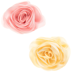 Milledeux - Girls Pink & Yellow Rose Hairclips (Pack of 2) | Childrensalon