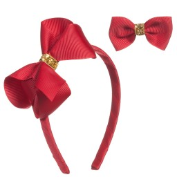 Milledeux - Girls Red Hairband & Hairclip Set | Childrensalon