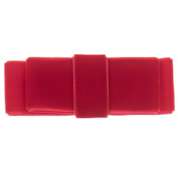Milledeux - Girls Red Velvet Bow Hairclip (7.5cm) | Childrensalon