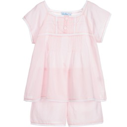 Mini Lunn - Girls Pink Cotton Shorts Pyjamas | Childrensalon