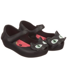 Mini Melissa - Girls Black Cat Jelly Shoes | Childrensalon