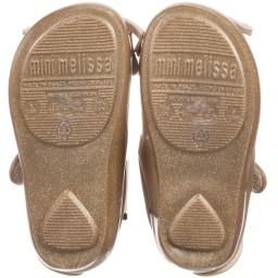 Mini Melissa - Girls Gold Glitter Cat Jelly Shoes   Childrensalon