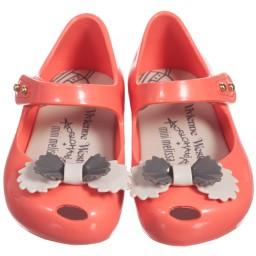 Mini Melissa - Girls Pink Vivienne Westwood Jelly Shoe & Bow | Childrensalon
