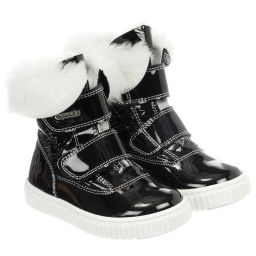 Missouri - Girls Black Fur Lined Boots | Childrensalon