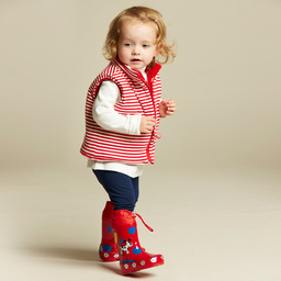 Mitty James - Girls Red Reversible Padded Gilet | Childrensalon