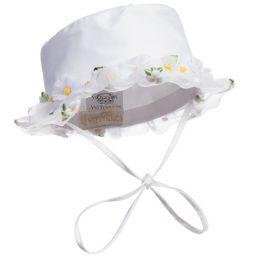Monnalisa Chic - Baby Girls White Sun Hat | Childrensalon