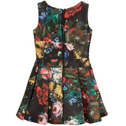 Monnalisa Jakioo - Girls Black Floral Dress | Childrensalon