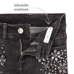 Monnalisa Couture - Girls Black Jeans with Jewels | Childrensalon