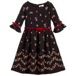 Monnalisa Chic - Girls Black Rose Bud Dress | Childrensalon