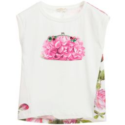 Monnalisa Chic - Girls Floral Bag Print T-Shirt | Childrensalon