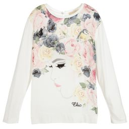 Monnalisa Chic - Girls Ivory Floral Top  | Childrensalon