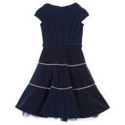 Monnalisa Couture - Girls Navy Blue Neoprene Dress | Childrensalon