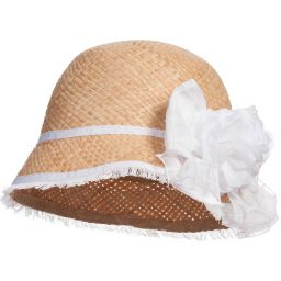 Monnalisa Chic - Organic Straw Hat & White Floral Brooch | Childrensalon