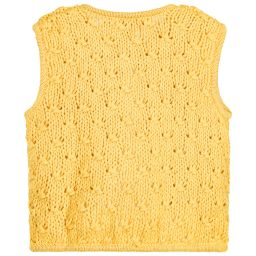 Moon et Miel - Baby Girls Mustard Yellow Cardigan  | Childrensalon