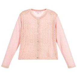 Moon et Miel - Girls Pink & Gold Cardigan   Childrensalon