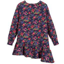 MSGM - Girls Blue Floral Crêpe Dress   Childrensalon