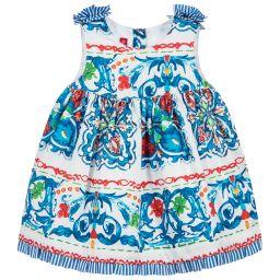 Pan Con Chocolate - Girls Blue Tile Print Dress   Childrensalon