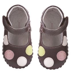 Pediped Originals (0-24mth) - Girls Brown Leather Spotted 'Giselle' Pre-Walker Shoes | Childrensalon