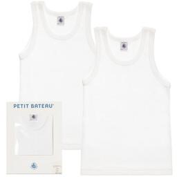 Petit Bateau - Boys White Vest 2 Pack | Childrensalon