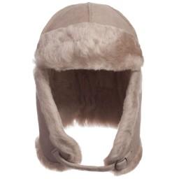 Petit Nord - Beige Merino Lambskin & Shearling Aviator Hat | Childrensalon