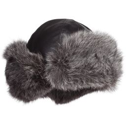 Petit Nord - Black Leather & Fur Hat | Childrensalon