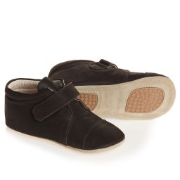 Petit Nord - Brown Leather Slipper Shoes | Childrensalon
