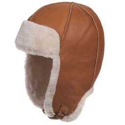 Petit Nord - Brown Merino Lambskin & Shearling Aviator Hat | Childrensalon