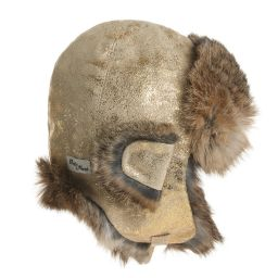 Petit Nord - Gold Leather & Fur Hat | Childrensalon