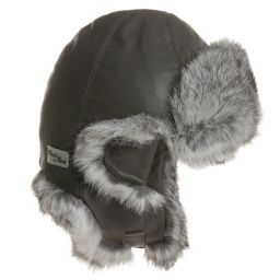 Petit Nord - Grey Leather & Fur Aviator Hat | Childrensalon