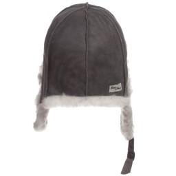 Petit Nord - Grey Merino Lambskin & Shearling Aviator Hat | Childrensalon