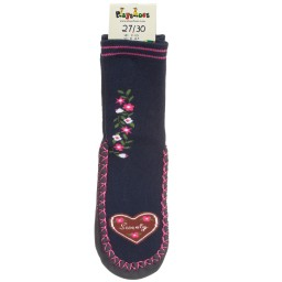 Playshoes - Girls Blue Cotton Slipper Socks | Childrensalon