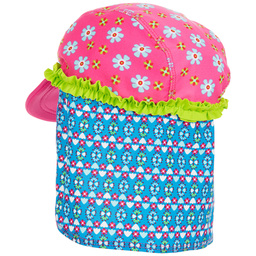 Playshoes - Girls Blue & Pink Floral Sun Protective Cap (UPF 50+) | Childrensalon