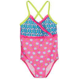 Playshoes - Girls Pink & Blue Floral Swimsuit (UPF 50+) | Childrensalon