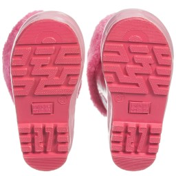 Playshoes - Girls Pink Fleece Lined Rain Boot | Childrensalon