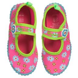Playshoes - Girls Pink Floral Aqua Shoes | Childrensalon