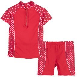 Playshoes - Girls Red Spotty Sun Protective Suit (UPF 50+) | Childrensalon