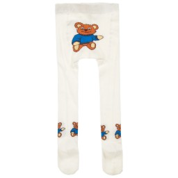Playshoes - Ivory Cotton Bear Tights  | Childrensalon