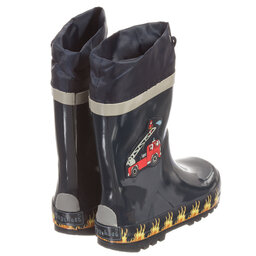 Playshoes - Navy Blue Fire Truck Rain Boots | Childrensalon