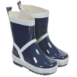 Playshoes - Navy Blue & Silver Reflective Rain Boots | Childrensalon