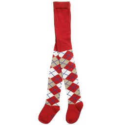 Playshoes - Red Cotton Argyle Tights | Childrensalon