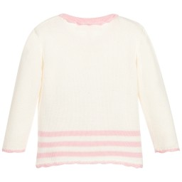 Powell Craft - Baby Girls Ivory Cotton Knit Cardigan | Childrensalon