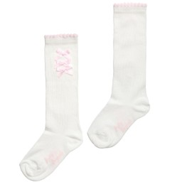 Pretty Originals - Girls Ivory Cotton Socks with Pink Satin Bows | Childrensalon