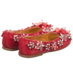 Quis Quis - Girls Red Beaded Shoes | Childrensalon